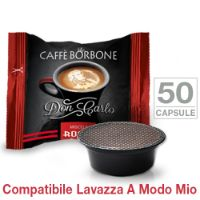 50 Capsule Don Carlo caffè Borbone miscela ROSSA compatibili Lavazza A Modo Mio