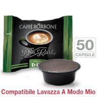 50 Capsule Don Carlo caffè Borbone miscela VERDE Decaffeinatocompatibili Lavazza A Modo Mio