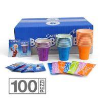 Kit 100 Bicchieri 100 Palette 100 Zucchero caffè Borbone