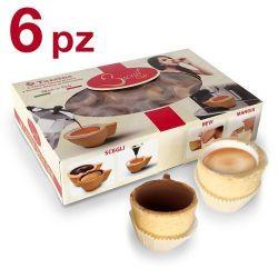 Picture of 6 tazzine in pasta frolla con glassa bianca o al cioccolato